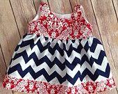 Red damask navy chevron Boutique girls jumper, size 0-6 mos
