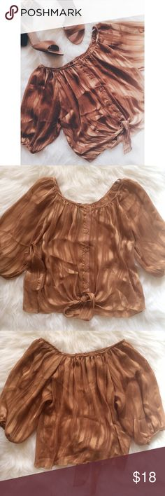 Burnt Orange Top This top is so cute! It is a sheer top with a knot in front. There are some snags, but nothing too noticeable. The brand on the tag has come off. 100% Polyester. 0118170jsm.  ✅Reasonable offers welcome! ✅BUNDLE DISCOUNTS! 🚫No trades/paypal/other apps. 🚫No lowball offers Tops Blouses