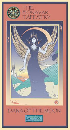 The Goddess Dana - a poster by artist Martin Springett. From The Fionavar Tapestry by Guy Gavriel Kay. Book Club Books, My Books, Summer Trees, Goddess Art, Book Cover Art, Pagan, Celtic, Two By Two, Tapestry