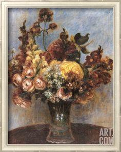 Spring Bouquet Framed Textured Art by Pierre-Auguste Renoir at Art.com