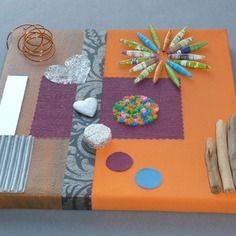 Tableau 3d mélange de matières acrylique miroir bois flotté cuir papier fait main unique