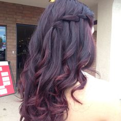 Waterfall braide// ombré red hair by JordyMack...love the color