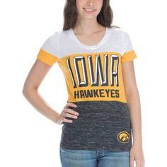 Ncaa Iowa Hawkeyes Women's Short Sleeve V Neck Tee, Size: Medium, Black