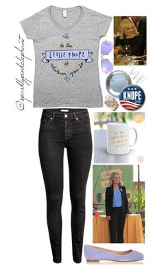 """Be the Leslie Knope of Whatever You Do"" by sparklypinkelephant ❤ liked on Polyvore featuring Humör, Ray-Ban, Sergio Rossi, Cynthia Rowley, parksandrec and leslieknope"