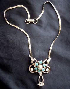 Vintage 40s Swing Era Choker Necklace Dangle Pendant / Brooch Turquoise Stones