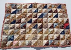 """1870'S  GREAT CALICO DOLL QUILT, TINY TRINAGLES , PERFECT CONDITION, TRUE PIECE, 18 x 12 1/2"""", eBay, rags"""