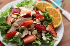 Barefeet In The Kitchen: Strawberry Chicken Salad with Warm Orange Vinaigrette (eliminate the almonds and it's a winner!)