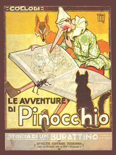 Vintage Poster-Le Avventure Di Pinocchio, Carlo Collodi. Firenze: Societa Editrice Toscana, circa 1923