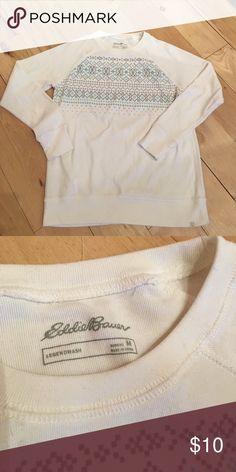 Eddie Bauer Sweatshirt EUC- Eddie Bauer crew neck light weight sweatshirt. Pretty gray and turquoise pattern over the check. Very soft and comfy! Eddie Bauer Tops Sweatshirts & Hoodies