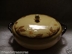Café Royal Rose Covered  Serving Bowl with Handles Franciscan Ware ~ Hand Painted Approx 4 Tall & 8 Inches wide ~  Pre-Owned