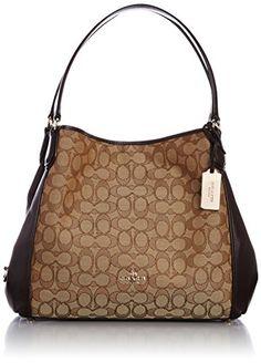 Coach Edie Signature Jacquard Shoulder Bag  - Light Gold/Khaki Brown Handbag