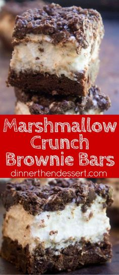 Marshmallow Crunch Brownie Bars are a totally indulgent brownie with ...