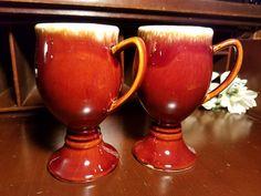 Hull Brown Drip Grandmug ~ Irish Coffee Mug ~ Coffee Mug ~ Set of 2 Mid-Century Modern ~ Hull USA by VintageEves on Etsy