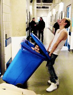 """I'm in the mood for dancing, romancing. I'm giving you it all tonight. I'm in the mood for dancing, romancing!"" I love Narry❤️❤️ (that's the song they sing when he's in the trash can btw lol!)"