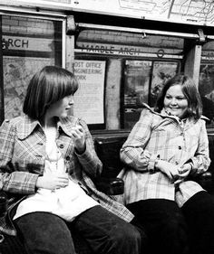 Eileen and Sharon at the platform of the Marble Arch tube station, London, England, 1973, photograph by Norman Craig.
