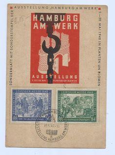 Germany 1948 Hamburg Am Werk 5-30 May,Postmark,Card Nice Stamps