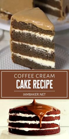 This scrumptious Coffee Cream Cake is quite the show-stopper! Indulge in 4 magical layers of coffee cake, cream cheese whipped cream, and coffee frosting. A glass of cold milk is the perfect complement to this irresistible back to school treat! Save this dessert idea! Fancy Desserts, Delicious Desserts, Coffee Dessert, Dessert Drinks, Coffee Cake, Baking Recipes, Cake Recipes, Dessert Recipes, Birthday Cakes