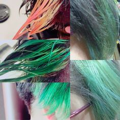 ワンポイントカラー。 鮮やかなグリーンが入っていく工程。。。 気に入ってるヘアスタイル。
