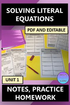"""*This resource is 100% editable* Teach your middle or Algebra students how to solve Literal Equations. This resource includes fill-in-the-blank notes, """"I Try, You Try"""" practice, and homework. Just print & go by using the pdf or edit it in Powerpoint. If you don't like fill-in the blank notes, use the answer key and the blanks are filled in for you! The homework aligns with the practice problems. Answer key is included. #Solving Equations #Algebra #Notes #Homework #Editable #Literal Equations Literal Equations, Solving Equations, Line Math, Secondary Math, 8th Grade Math, Math Notebooks, Math Activities, Math Games, Teacher Resources"""