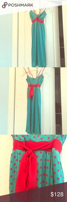 Voom by Joy Han Polk A Dot 100% Silk Dress! Voom by Joy Han dress. 100% Silk. Polk A Dot design. Double straps and red bow accent belt. Used a few times. Has light staining on top (picture included). Will ship fast. No trades please. Voom by Joy Han Dresses