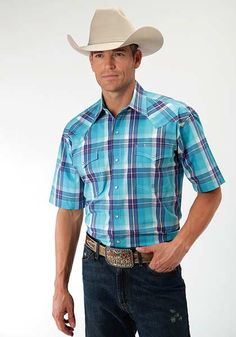 53d960a67ef0 Men's Short Sleeve Shirt Snap Front High Noon, Westerns, Western Shirts,  Western Outfits