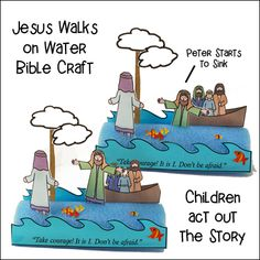 Jesus Walks on Water or Jesus Calms the Storm Bible Crafts for Children's Ministry Sunday School Activities, Bible Activities, Sunday School Lessons, Sunday School Crafts, Peter Walks On Water, Jesus Walk On Water, Jesus Crafts, Bible Story Crafts, Bible Stories