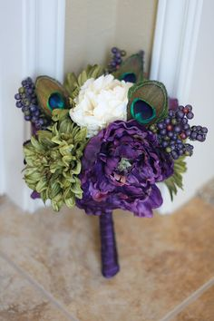 Peacock Feather Wedding Bridesmaid Bouquet by SouthernGirlWeddings, $45.00