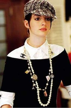 'The Devil Wears Prada' - Anne Hathaway. to die for...one of my fav looks in the movie! love the long layered chanel necklaces