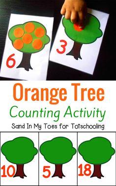 Orange Tree Counting Free Printable