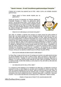 Compréhension écrite sur l'origine de la gastronomie, l'évolution des goûts et la naissance des restaurants. - Fiches FLE