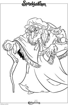 Heks van Sprookjesboom. Efteling kleurplaat. Adult Coloring Pages, Coloring Pages For Kids, Coloring Books, David The Gnome, Thanksgiving Coloring Pages, Bujo Doodles, Color Shades, Disney Cartoons, Digital Stamps