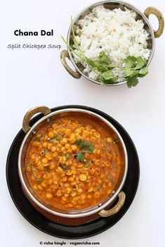 Easy Chana Dal Recipe. Split chickpeas make a smooth nutty soup. Flavored with roasted cumin tempering. Vegan Gluten-free Soy-free Recipe