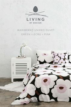 This Unikko print is a Marimekko original. featuring the bold and iconic poppy flower. With this softer palette, Designer Maija ja Kristina Isola includes a subtle touch of dark green, ecru and pink blooms on this cotton duvet cover. Marimekko Bedding, Queen Size Duvet, Cotton Duvet, Quilt Cover, Luxury Bedding, Brown And Grey, Design Art, Duvet Covers, Lino Prints