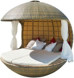 contemporary outdoor canopy bed COCOON BEACH- josh said to keep dreaming. Poolside Furniture, Cool Furniture, Furniture Design, Outdoor Furniture, Garden Furniture, Beach Furniture, Tree Furniture, Futuristic Furniture, Rattan Furniture