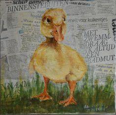 Eigenwijs eendje vogel acryl op Nederlandse krant collage