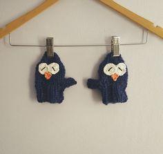 Hand knit kids woolen owl slippers. Handmade by Happylandcreations