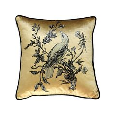 Gold on Golden Oriole cushion Reverse: Black Velvet Details: Black Velvet trim. Butterfly Cushion, Owl Cushion, Cushion Source, Bee Fabric, Timorous Beasties, Gold Cushions, Cushions Online, Red Squirrel, Wallpaper Panels