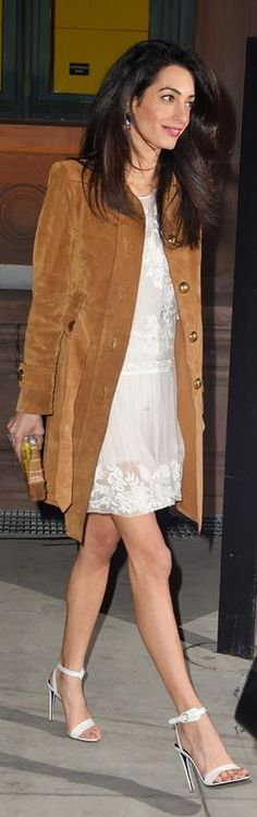 Who made Amal Clooney's white dress, brown suede coat, and tan clutch handbag?