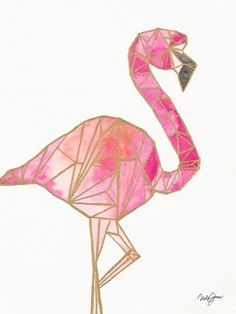 "Pink Art - ""Origami Flamingo"" wall art by Nola James available at Great BIG Canvas."