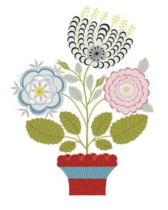 CbyC Original Illustration – Swedish Potted Plant Limited Edition Print via Etsy - All About Scandinavian Embroidery, Swedish Embroidery, Scandinavian Art, Embroidery Applique, Floral Embroidery, Embroidery Patterns, Print Patterns, Plant Drawing, Plant Art