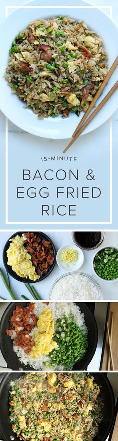 Put your leftover rice to good use when making this quick recipe for bacon and egg fried rice.