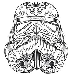 Darth Not Dark Vader Sugar Skull Coloring Page