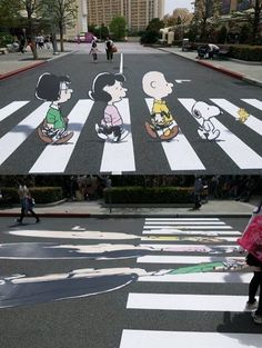 these 3-d sidewalk drawings that are popping up everywhere (still haven't seen one in person though) seem a bit much, but i like this one because of its simplicity and the abbey road reference