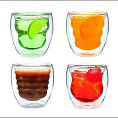 Copos transparentes corpo duplo. (double walled glasses)