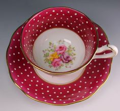 RARE Royal Albert Red White Dot Floral Cup Saucer Un Named Set 357 1930'S | eBay
