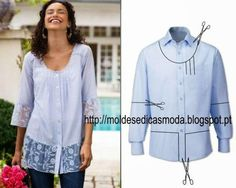 After - befor refashion biby creations Couture tutorial Diy Clothing, Sewing Clothes, Umgestaltete Shirts, Dress Shirts, Diy Vetement, Altered Couture, Refashioning, Creation Couture, Shirt Refashion