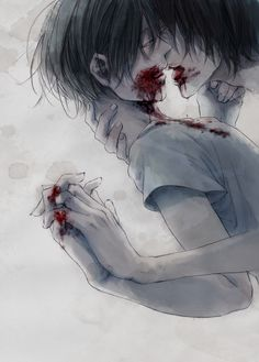 zombie yaoi blood boy dark demon horror illustration monochrome