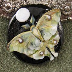 NEW Luna Moth Lampwork Focal Bead by Kerribeads by kerribeads, $165.00