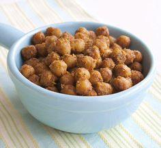 Spicy Roasted Chickpeas from Vegan JunkFood - a healthier snack. Yum!