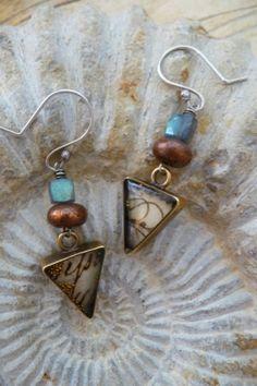 "Contemporary Jewelry - ""Amalfi Earrings"" (Original Art from Jill Rockwell Metal & Bead Arts)"
